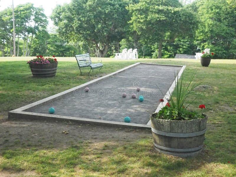 Het hof van het Boccebalspel bij het oude Eiland van de hotelschuilplaats, New York stock fotografie