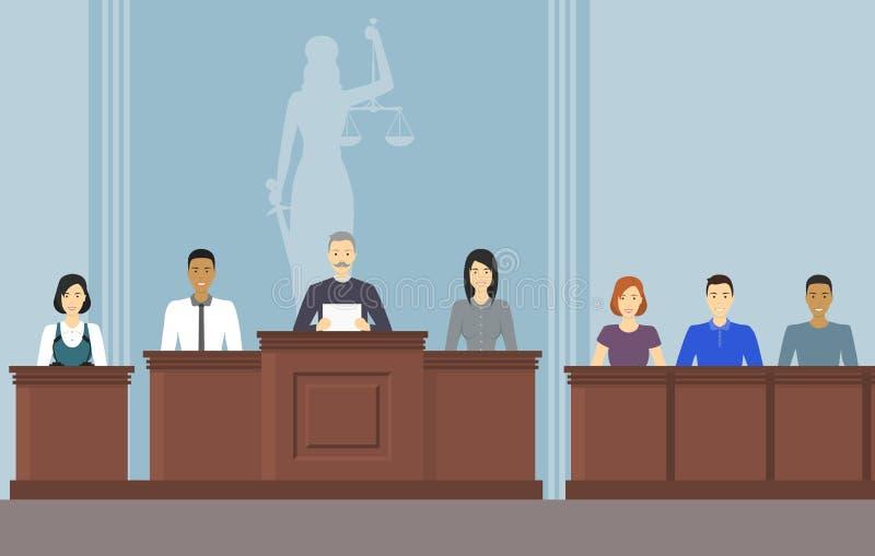 Het Hof van de beeldverhaalkleur de Bouw binnen Binnenland met Mensen Vector royalty-vrije illustratie