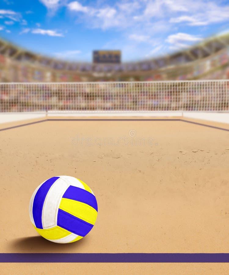 Het Hof van het strandvolleyball met Bal op Zand en Exemplaarruimte royalty-vrije illustratie
