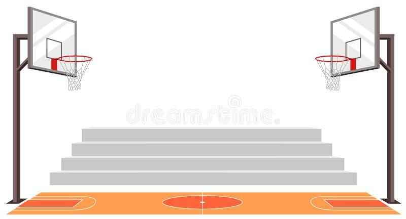 Het hof van het sportenbasketbal gelijkevector stock illustratie