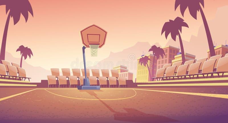 Het hof van het straatbasketbal, openluchtstadionvector vector illustratie