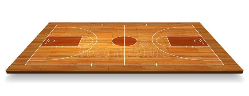 Het hofvloer van het perspectiefbasketbal met lijn op houten textuurachtergrond Vector illustratie royalty-vrije illustratie