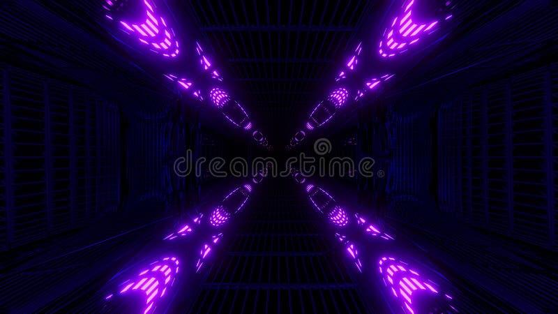 Het hoge het gloeien weerspiegelende de tunnel van de abstactmelkweg ruimte 3d teruggeven als achtergrond royalty-vrije illustratie