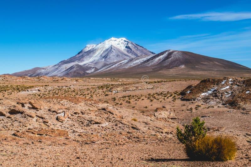 Het hoge hoogte Andesplateau buiten Salar de Uyuni, Bolivië royalty-vrije stock foto's