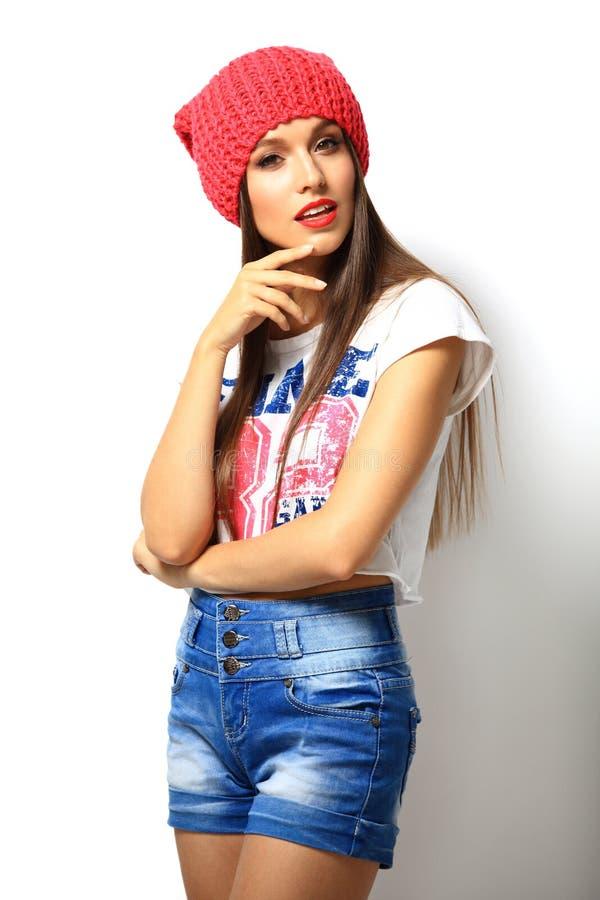 Het hoge portret van de manierlook model van de glamour het modieuze mooie jonge vrouw stock afbeeldingen