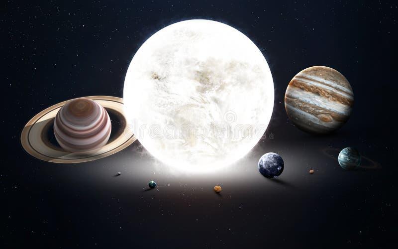Het hoge resolutiebeeld stelt planeten van het zonnestelsel voor Dit die beeldelementen door NASA worden geleverd royalty-vrije stock afbeelding