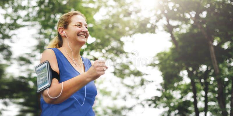 Het hogere Volwassen Concept van de de Sportactiviteit van de Jogging Lopende Oefening royalty-vrije stock afbeeldingen