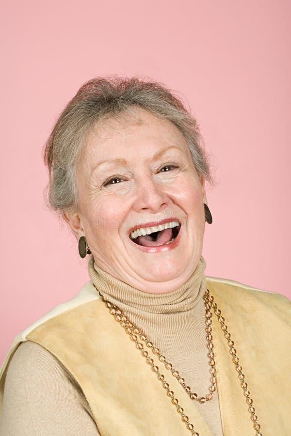 Het hogere vrouw lachen stock fotografie