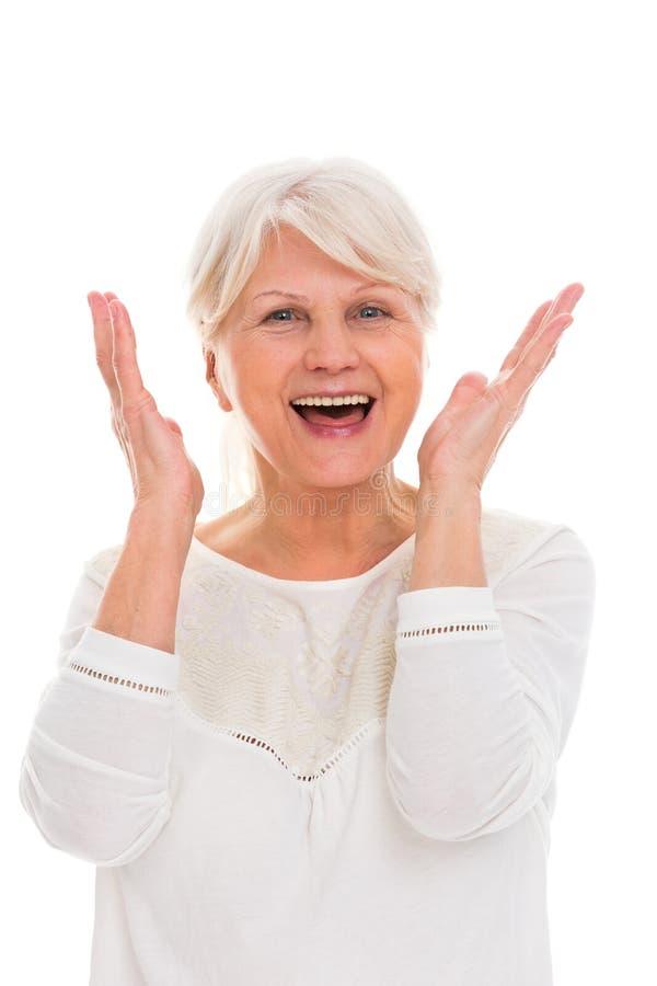 Het hogere vrouw schreeuwen royalty-vrije stock foto