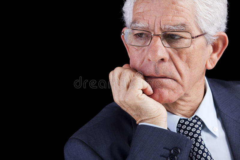 Het hogere zakenman denken stock foto