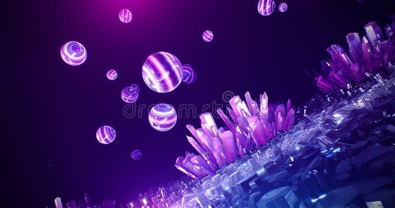Het hol abstracte achtergrond van het kristalneon stock foto's