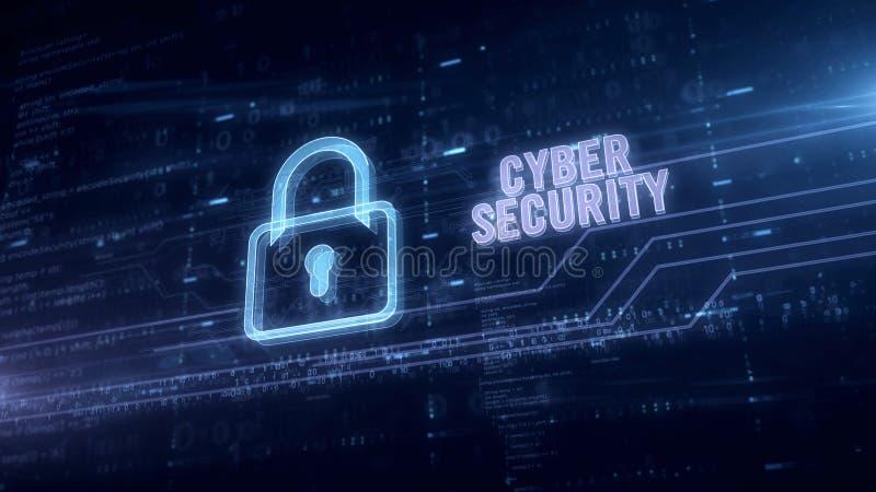 Het hologram van de Cyberveiligheid in elektrische cirkel royalty-vrije stock afbeeldingen