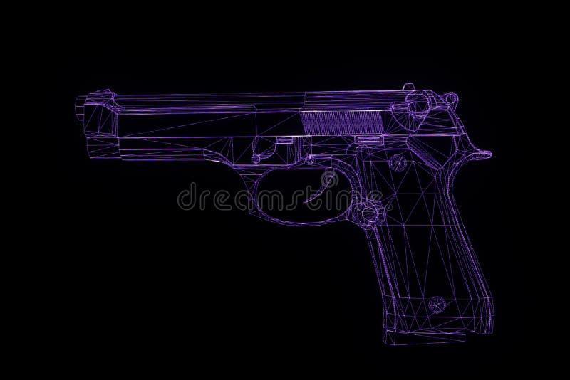 Het Hologram Wireframe van het kanonwapen in Motie Het 3D Teruggeven van Nice royalty-vrije illustratie