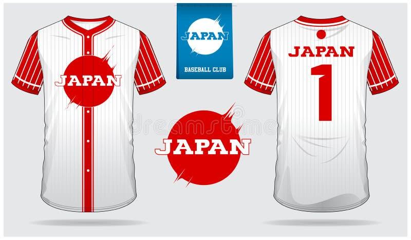 Het Honkbal Jersey, eenvormige sport van Japan, raglan t-shirtsport, kort, sokmalplaatje De spot van de honkbalt-shirt omhoog Voo vector illustratie