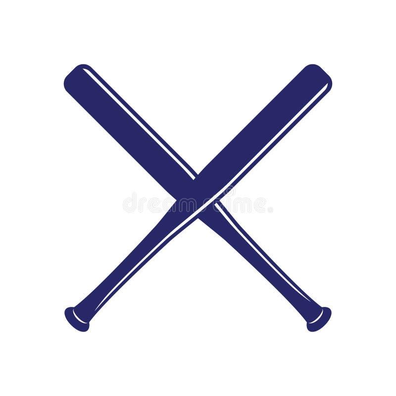 Het honkbal kruiste Knuppels Criss dwarsknuppels Vlakke vectorillustratie vector illustratie