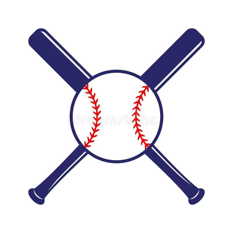 Het honkbal kruiste knuppels met bal Criss dwarsknuppels Vlakke vectorillustratie royalty-vrije illustratie