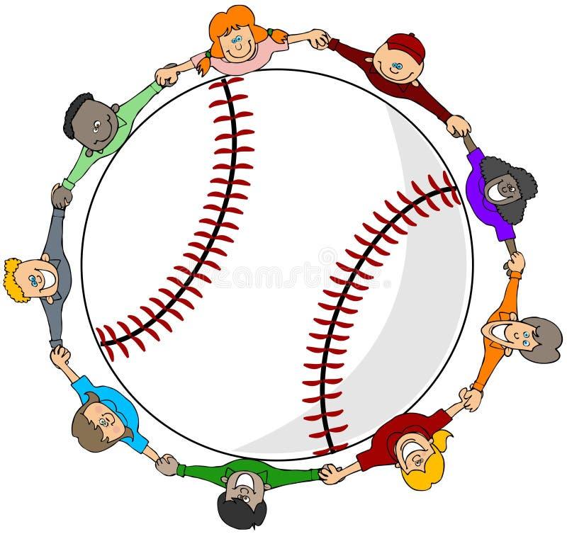 Het honkbal van jonge geitjes royalty-vrije illustratie