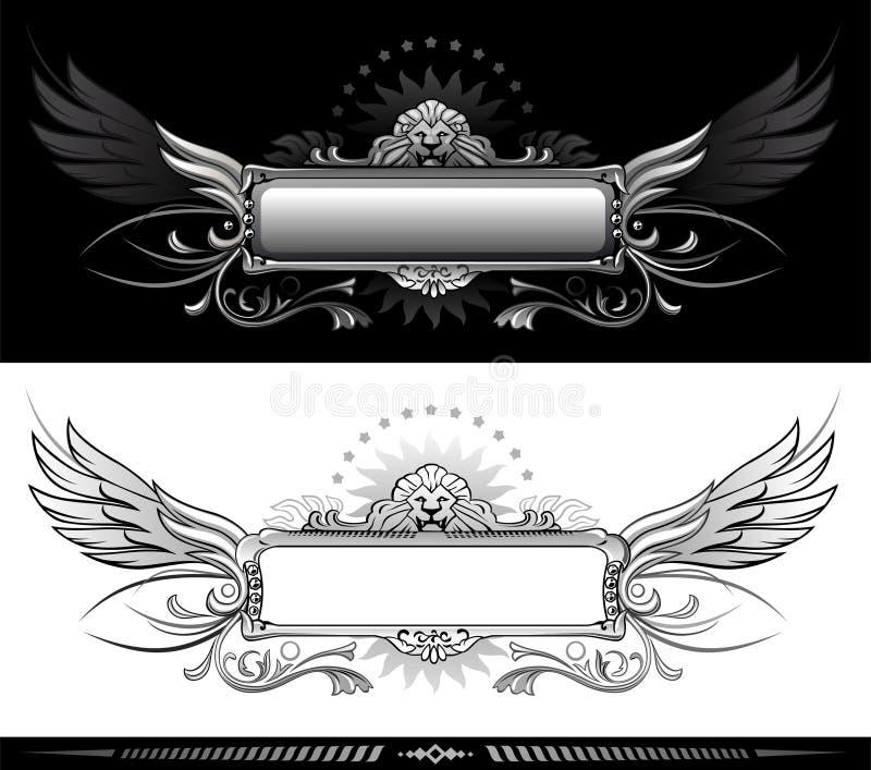 Het hoofd en de vleugelontwerp van de leeuw vector illustratie