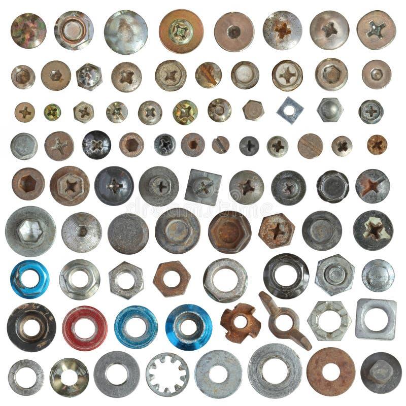 Het hoofd en de wasmachineinzameling van schroeven royalty-vrije stock foto