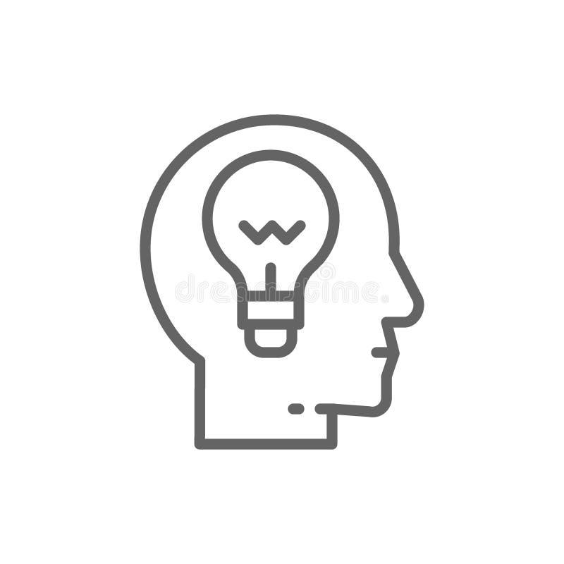 Het hoofd met lamp, ideegeneratie, denkt, dacht lijnpictogram royalty-vrije illustratie