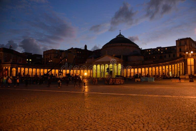 Het Hoofd Openbare Vierkant van Napels, Reis Italië, Napoli royalty-vrije stock foto
