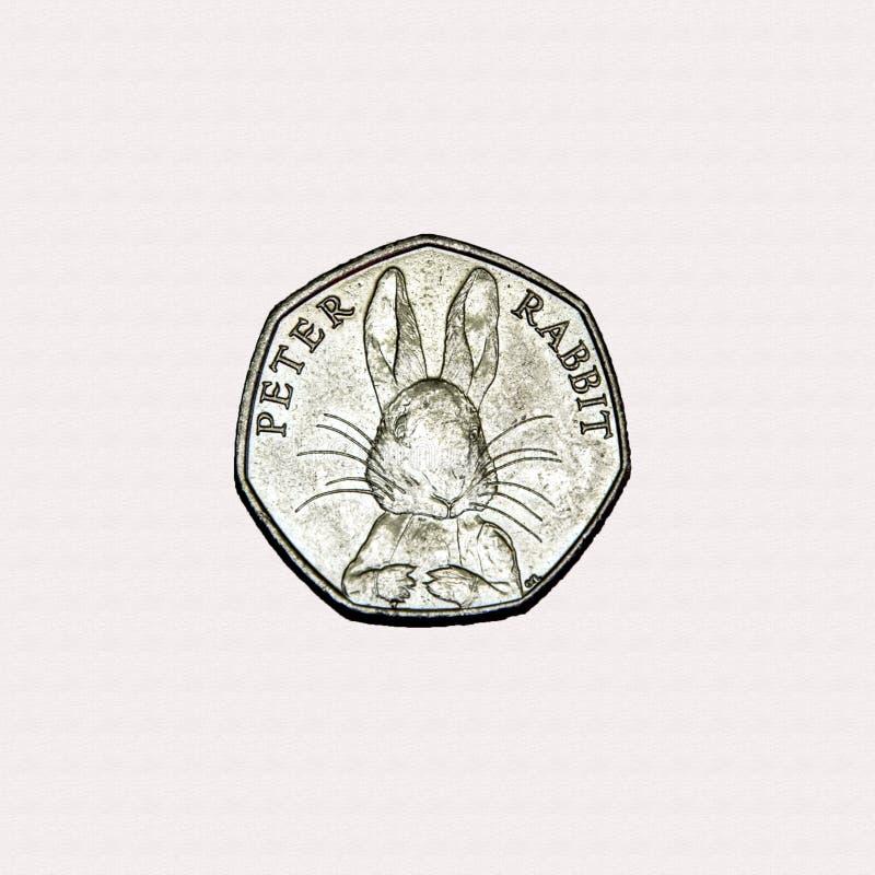 Het hoofd50p stuk van Peter Rabbit stock foto's