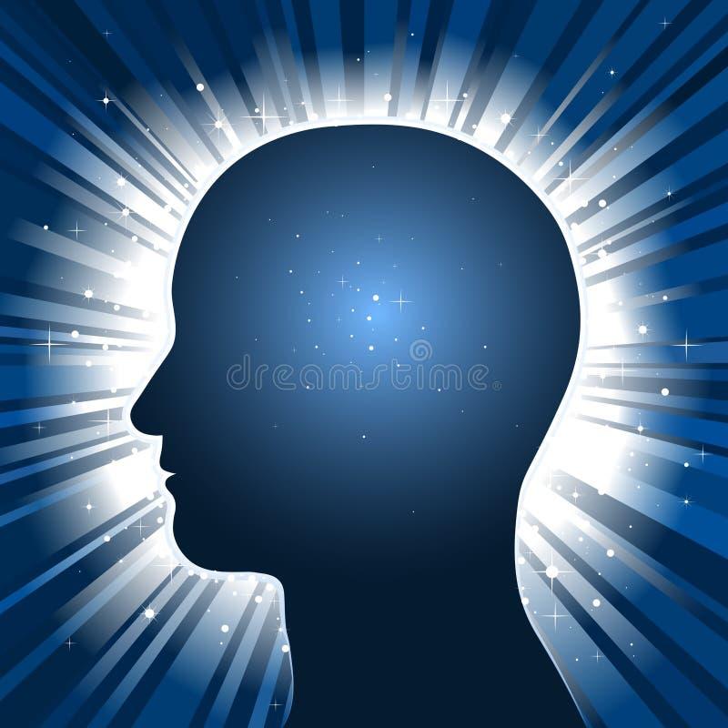 Het hoofd silhouet met ster barstte achtergrond stock illustratie