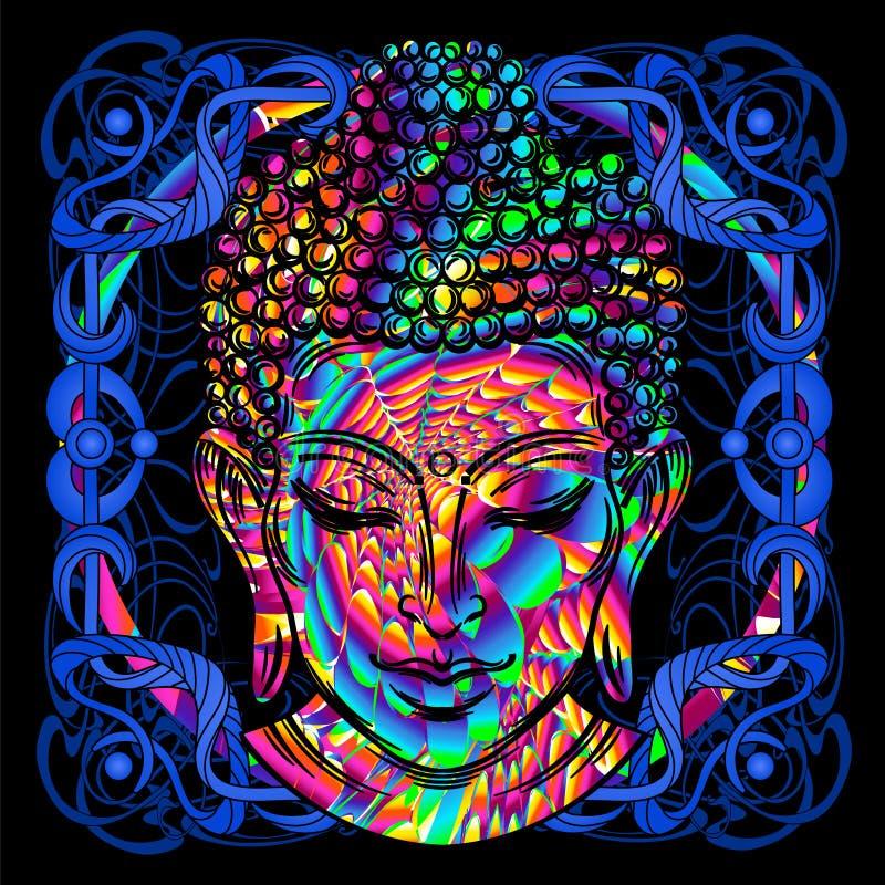 Het hoofd van Boedha is het psychedelische schilderen royalty-vrije illustratie