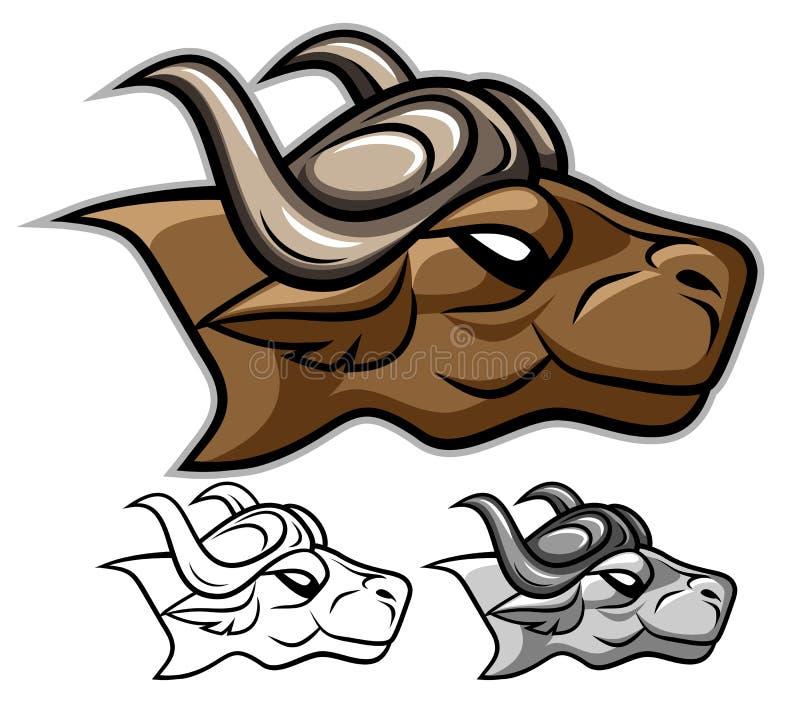 Het hoofd van buffels stock illustratie
