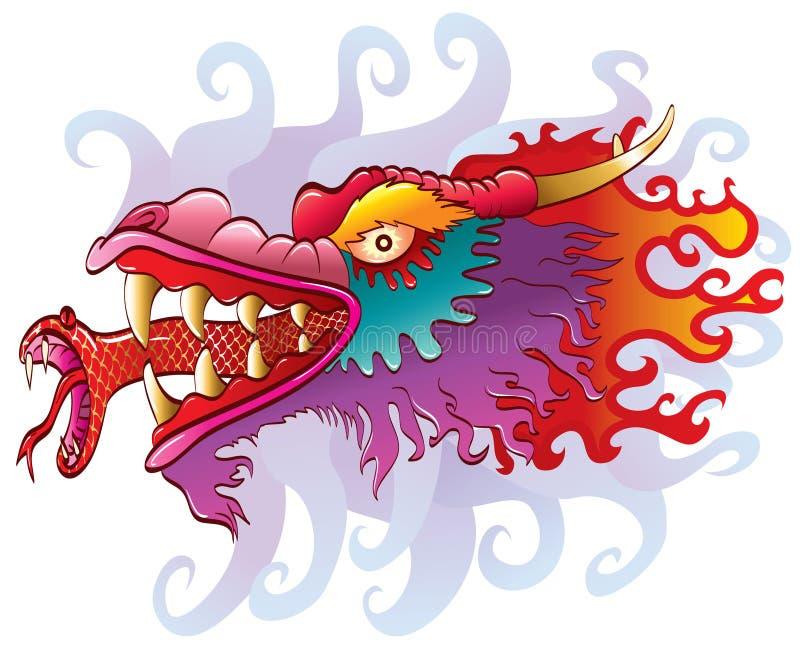 Het hoofd van de draak met slangtong stock illustratie