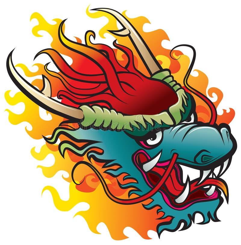 Het hoofd van de draak in vlam royalty-vrije illustratie