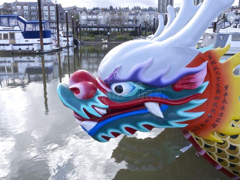 Het hoofd van de draakboot stock afbeeldingen