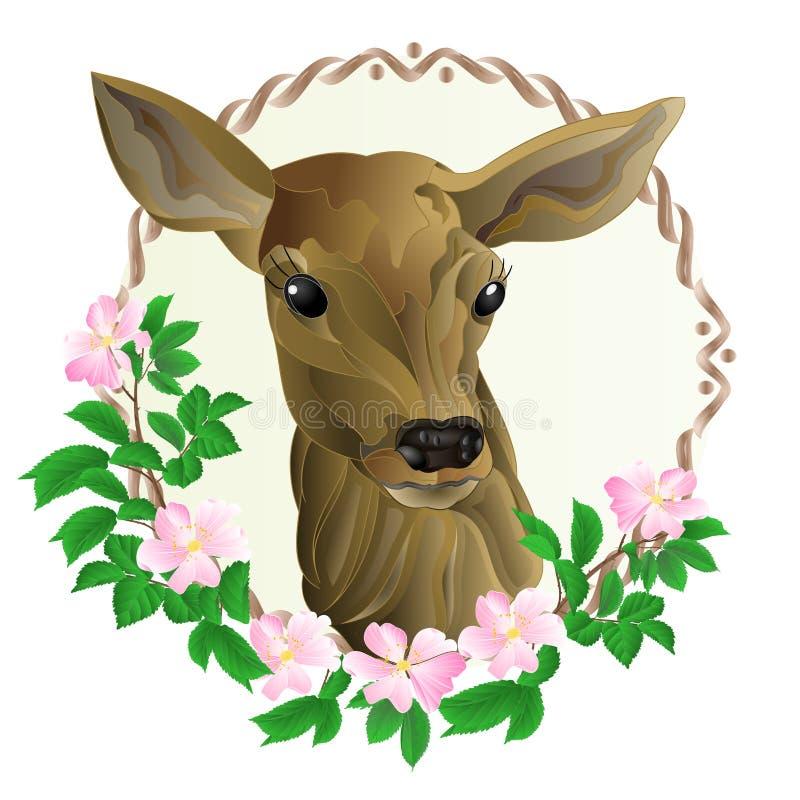 Het hoofd van de hertenmoeder in houten kader met wilde van de rozenaard uitstekende vector editable illustratie als achtergrond vector illustratie