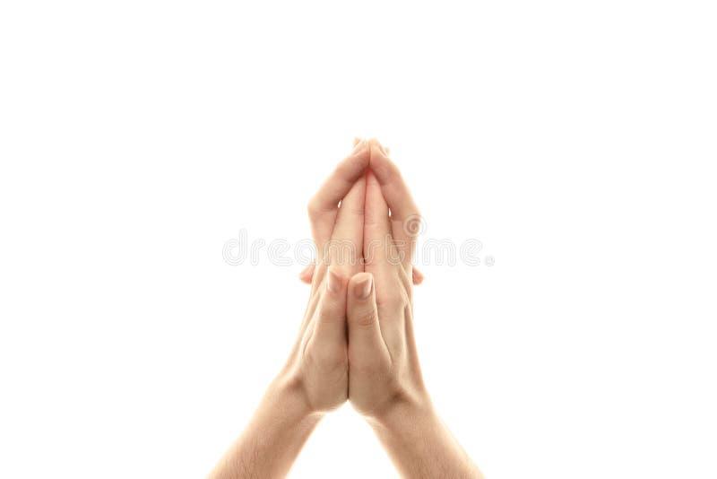 Het hoofd van de Mudradraak, yoga voor de vingers, een ritueel gebaar in Boeddhisme Ge?soleerdj op witte achtergrond royalty-vrije stock afbeeldingen