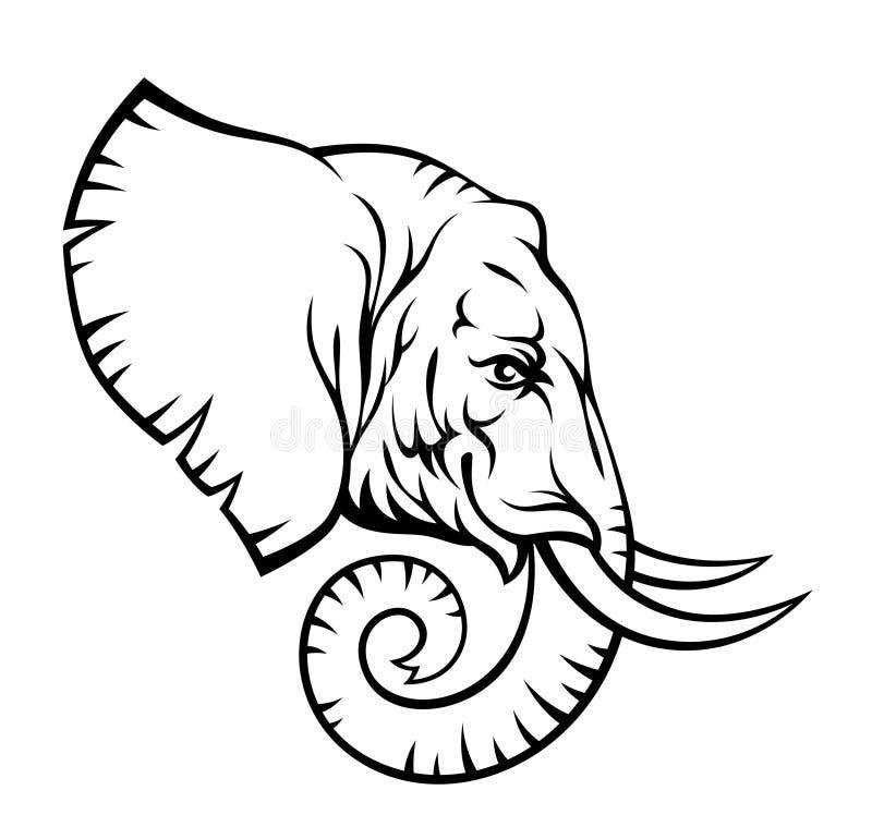 Het hoofd van de olifant stock illustratie