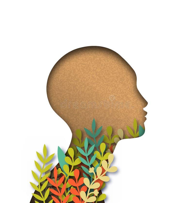 Het hoofd van de Papercutvrouw met kleurrijke document bladeren stock illustratie