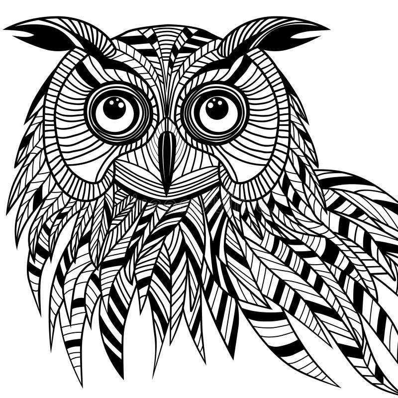 Het hoofd van de uilvogel als Halloween-symbool voor mascotte of embleemontwerp, s vector illustratie