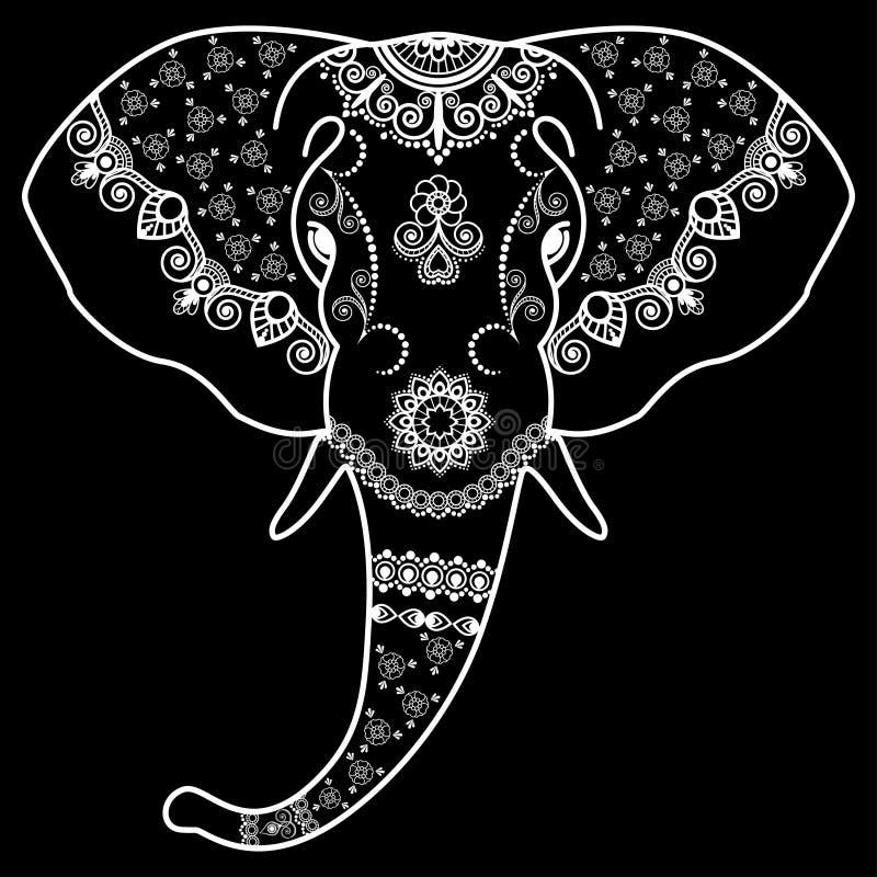 het hoofd de zwart witte olifant in de indische stijl
