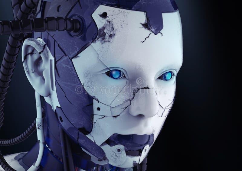 Het hoofd van een cyborg op een zwarte achtergrond stock illustratie