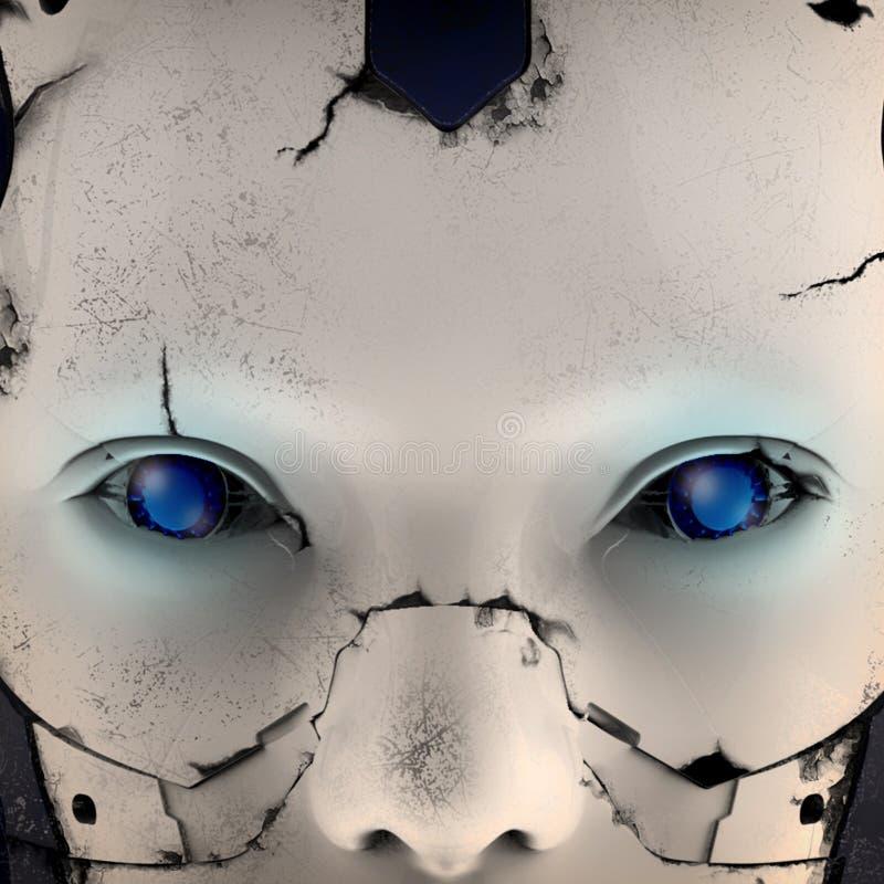 Het hoofd van een cyborg op een zwarte achtergrond 3D Illustratie stock illustratie