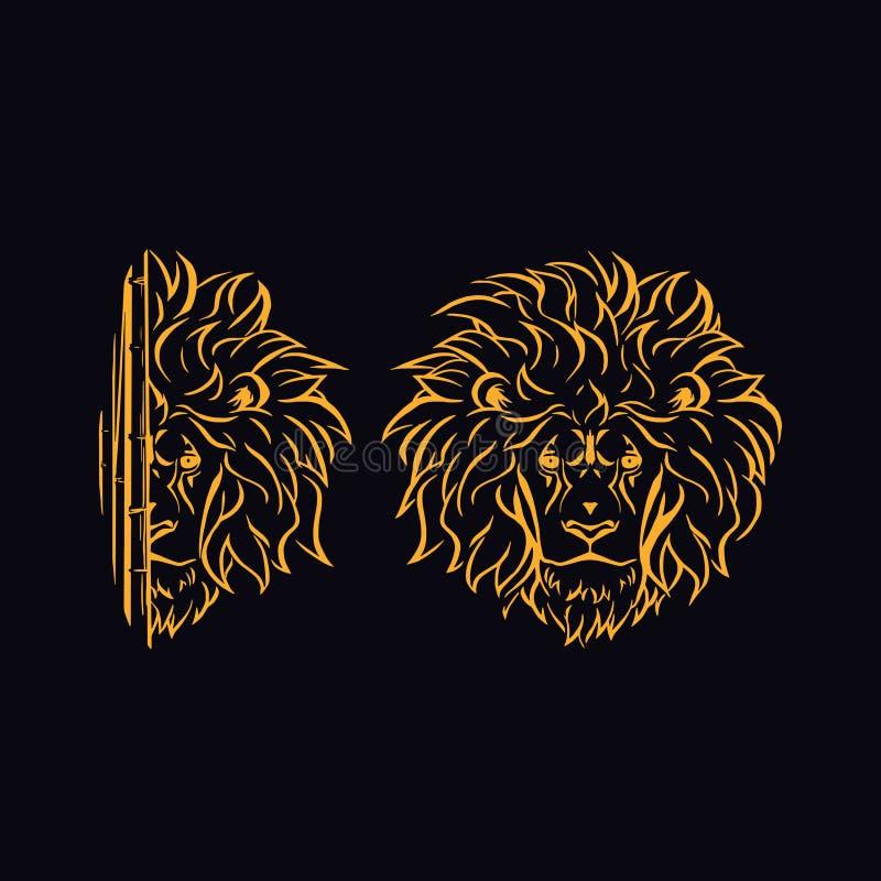 Het hoofd van een gouden leeuw stock illustratie