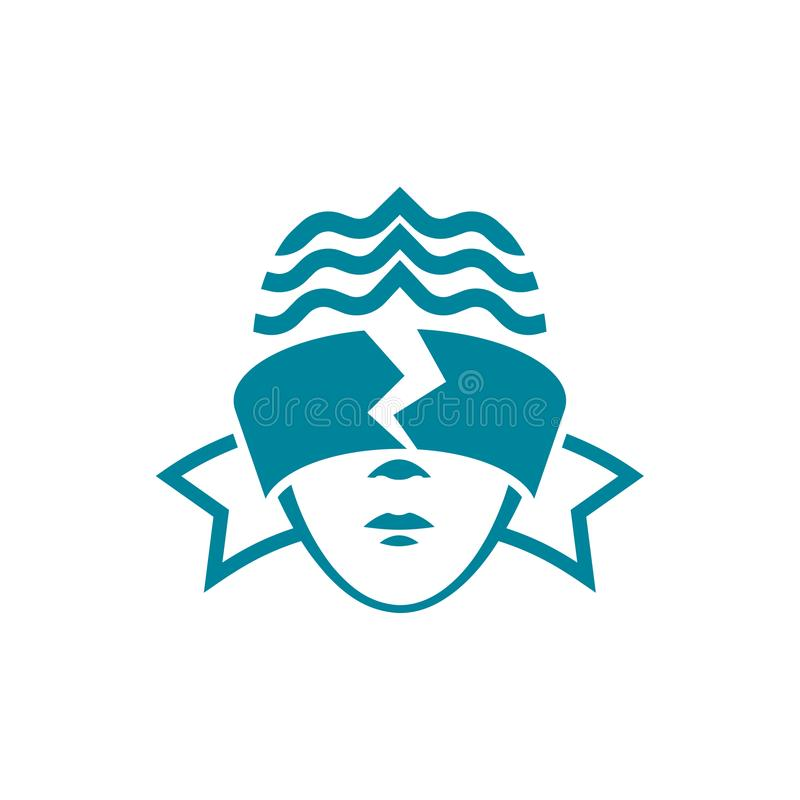 Het hoofd van een vrouw met geblinddochte ogen, dat gescheurd is Het wettelijke lineaire malplaatje van het stijlembleem stock illustratie