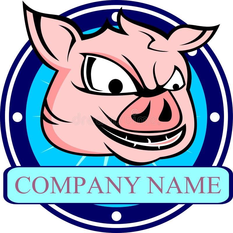 Het hoofd van het het varkensbeeldverhaal van het voorraadembleem vector illustratie