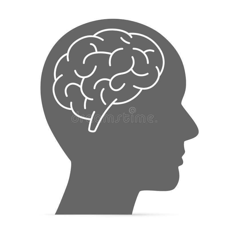 Het hoofd van het silhouet met de hersenen vector illustratie