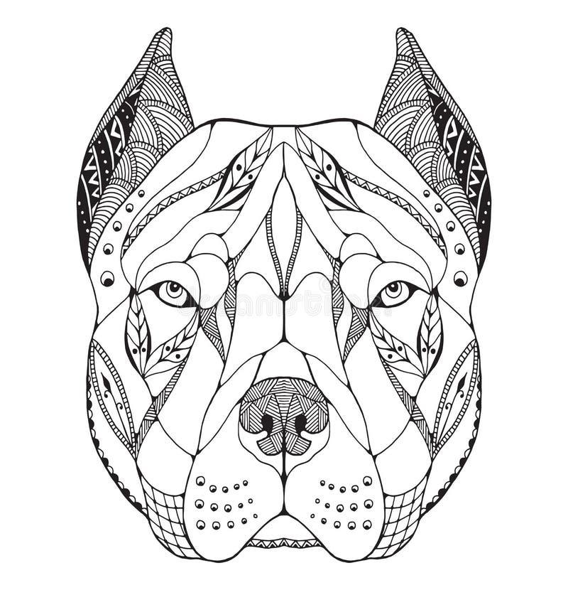 Het hoofd van kuilbull terrier zentangle stileerde, vector, illustratie stock illustratie