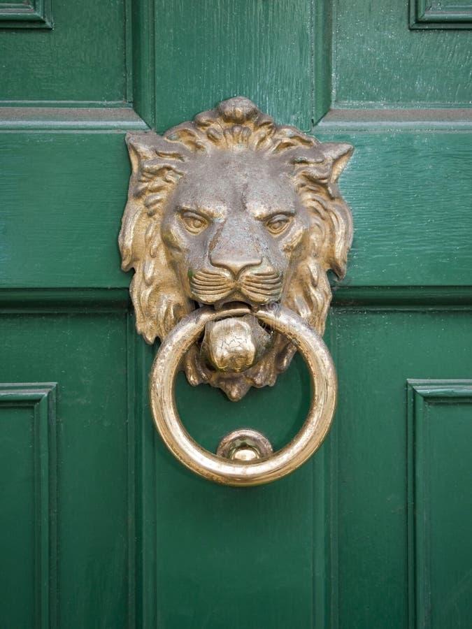 Het hoofd van leeuwen op groene deur royalty-vrije stock afbeelding