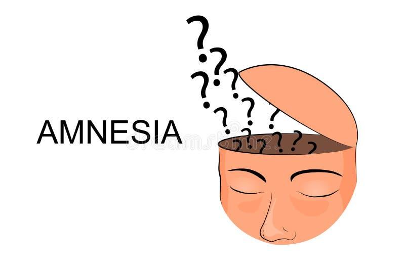 Het hoofd, verlies van geheugen, opent de schedel vector illustratie
