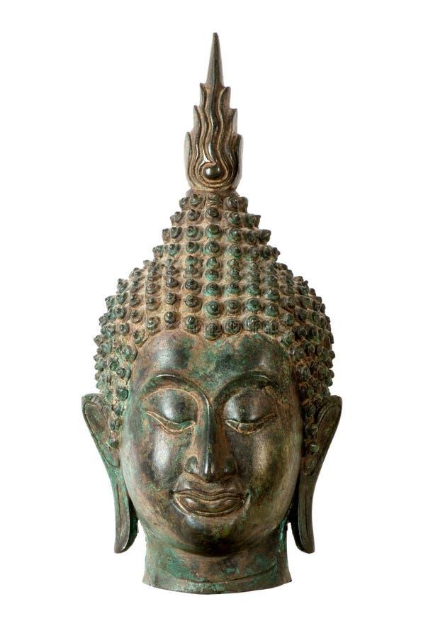 Het hoofdbeeldhouwwerk van Boedha op wit stock foto's