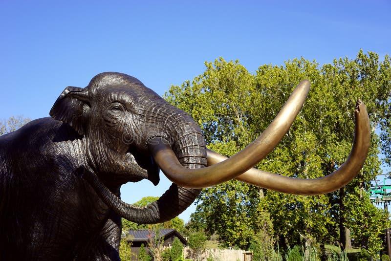 Het hoofdbeeldhouwwerk van de bronsolifant royalty-vrije stock foto's