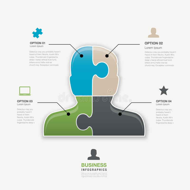 Het hoofdconcept van de van het bedrijfs puzzelstuk mensen vectorverbinding vector illustratie